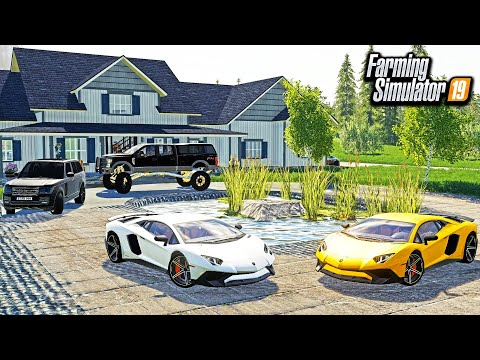 BUILDING A BILLIONAIRE'S HOUSE FROM SCRATCH! (LAMBO & LIFTED FORD) | FARMING SIMULATOR 2019