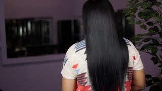 "Jet Black 22"" Malaysian Straight Sew-In with L10 Hair"