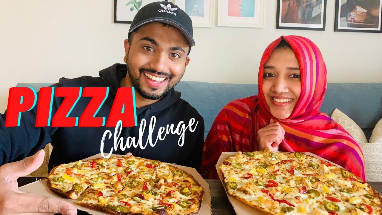 EATING A WHOLE PIZZA 🍕🍕🍕 | COUPLE CHALLENGE | HANNA DANISH