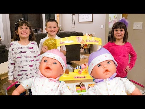 Twins go Shopping with their BABY DOLLS at the DESSERT STORE!!
