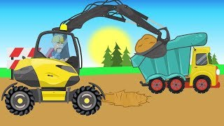 Excavator Children's Video. Road vehicles - construction of sheds   Construction Equipment for KIDS