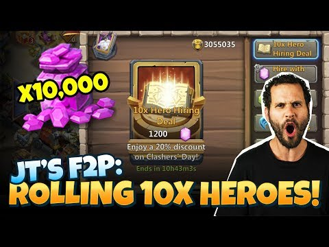 JT's F2P 1200 Gems Hero Rolls UPDATE Castle Clash