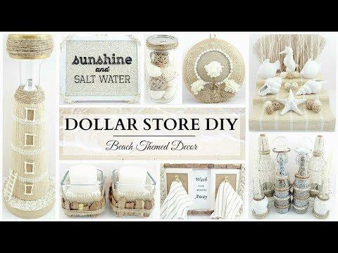 Dollar Store DIY'S ~ 10 NEUTRAL Beach Themed Decor Crafts! ~ Simple & Elegant!