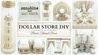 10 Dollar Store DIY'S ~ NEUTRAL Beach Themed Decor Crafts! ~ Simple & Elegant!