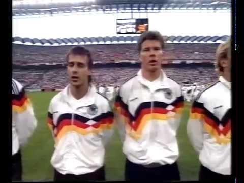 Deutschland - Niederlande (Holland) 2:1 WM 1990 Hymne, und Interviews; Völler vs. Rijkaard