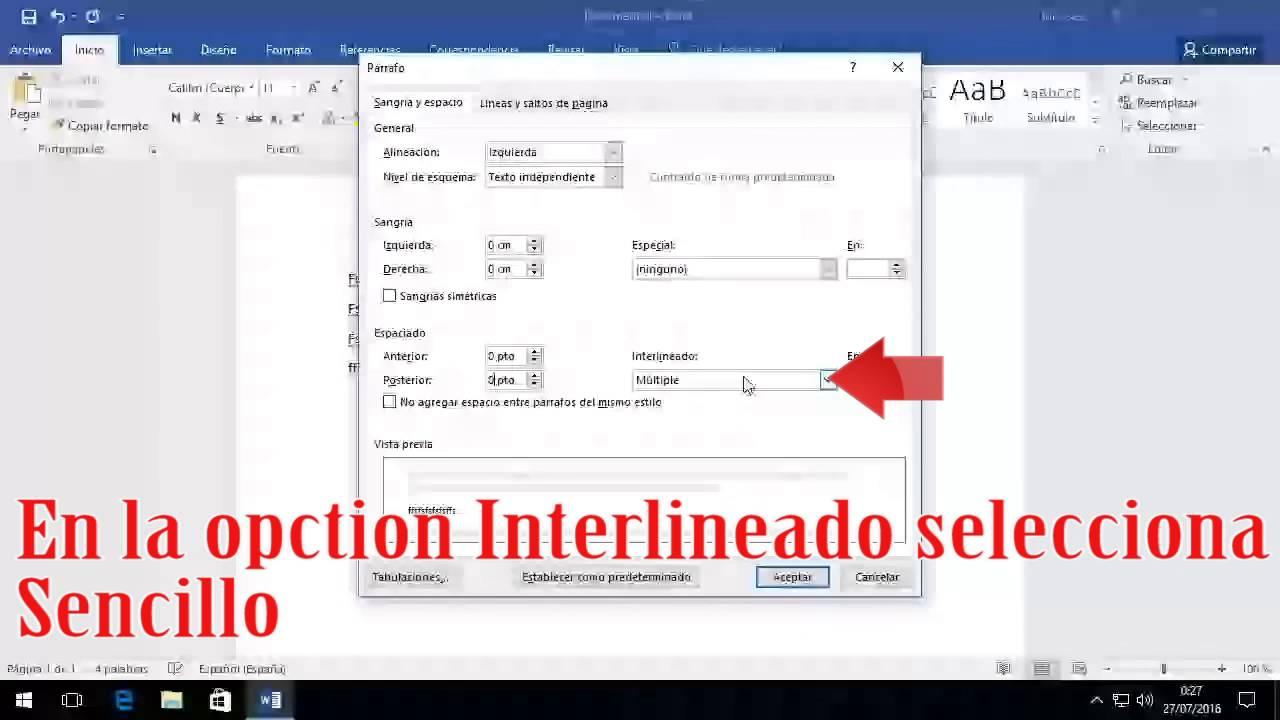 Como cambiar el espacio entre lineas o parrafos en word for En word cual es el interlineado