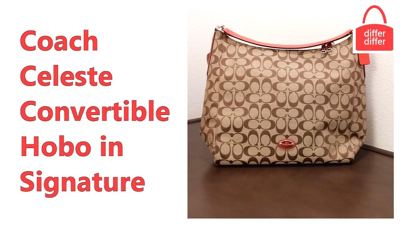43f332fe6b ... shoulder bags · Coach 12CM Signature Celeste Hobo - Black Coach Celeste  Convertible Hobo in Signature Canvas 36377 - Y ...
