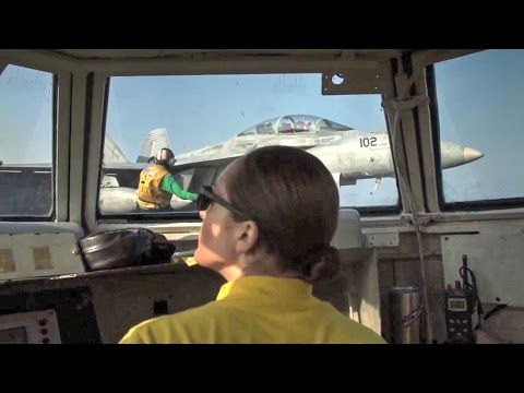 Flight Deck Operations – View From 'The Bubble' On Aircraft Carrier