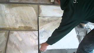 Laying the first stones - Banas Fossil Natural Stone
