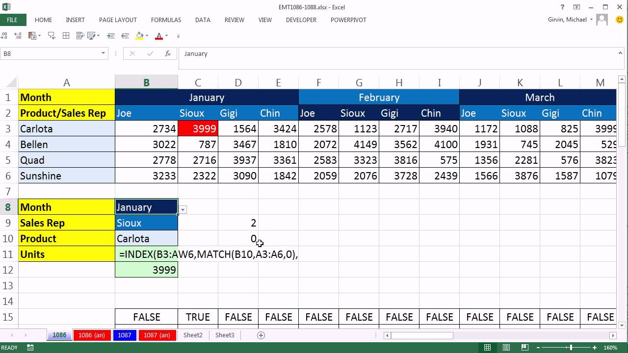 Excel Magic Trick 1086 3 Way Lookup Formula Amp Conditional