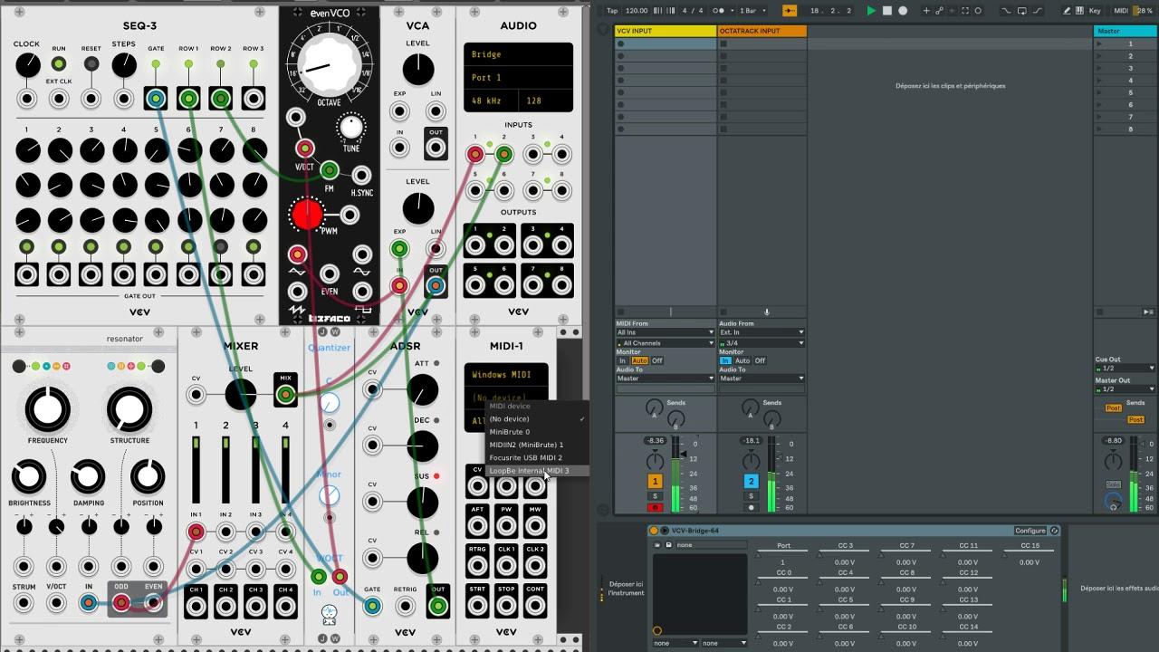 VCV Rack 0 6 + Bridge + Ableton + LoopBe1 (sync + audio root)