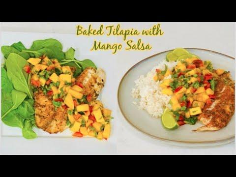 Baked Tilapia with Mango Salsa