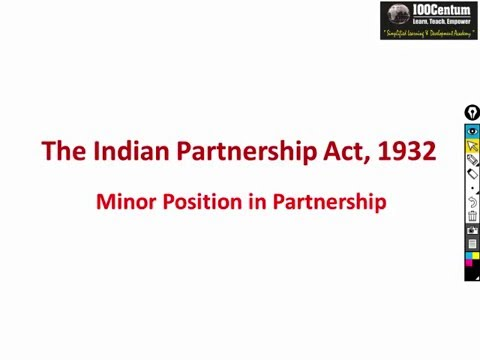 Indian Partnership Act 1932 - Part 4 - Position of Minor for CA-CPT (in Hindi)