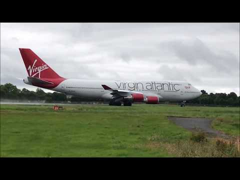 Virgin Atlantic Boeing 747 at Belfast International Airport | Landing and Wet Takeoff