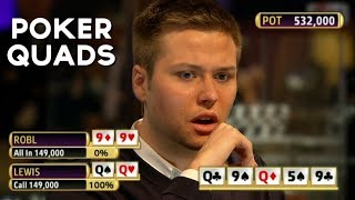 Top 5 Poker FOUR OF A KIND Hands EVER! (Poker QUADS)