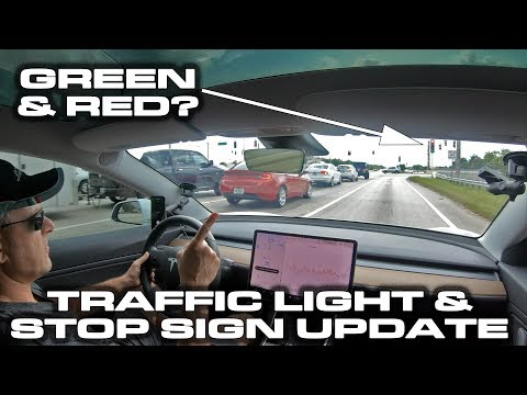 DEMO * GREEN & RED? * Traffic Light and Stop Sign Control Beta Software Update * Tesla Model 3
