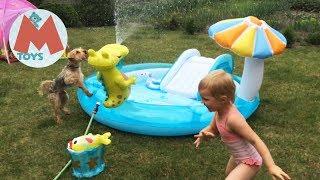 ❤ INTEX Детский Бассейн с Горкой и фонтаном крокодильчик Видео для детей