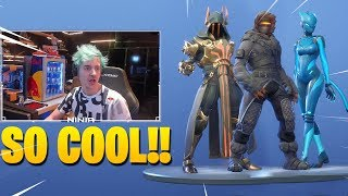 NINJA REACTS TO *NEW* SEASON 7 BATTLE PASS SKINS & EMOTES!! Fortnite Battle Royale!