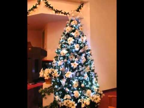 Large Sets Silver And White Christmas Tree Decorating Ideas With Ribbon