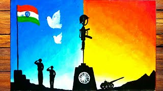 kargil vijay diwas drawing very easy||independence day poster