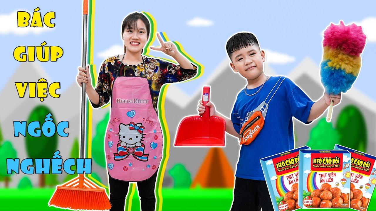 24H Ở Nhà Cùng Bác Giúp Việc ♥ Minh Khoa TV ft Thịt Viên Ăn Liền Heo Cao Bồi