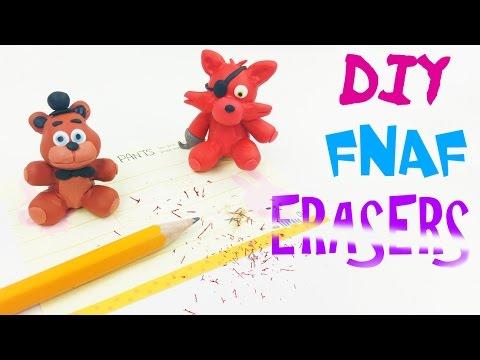 DIY MINIATURE FNAF ERASERS FOXY & FREDDY - Sister Location clay erasers craft polymer clay tutorial