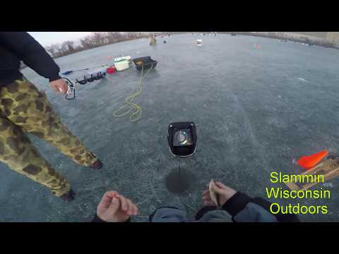 Ice Fishing Little Lake Butte Des Morts Perch, Walleye, and Northern Pike 3-14-15