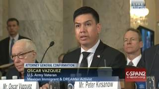 Repeat youtube video Veteran, Dreamer Oscar Vasquez testifies on Sessions