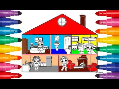 House LOL coloring Painting for toddlers Домик ЛОЛ ...
