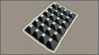 3D узор для коврика крючком. Коврик 3D. Объемное вязание. Коврик крючком. Crochet 3D rug.