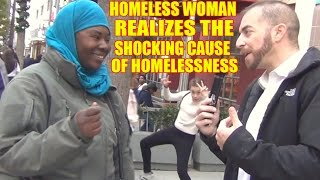 Homeless woman realizes the shocking cause of homelessness