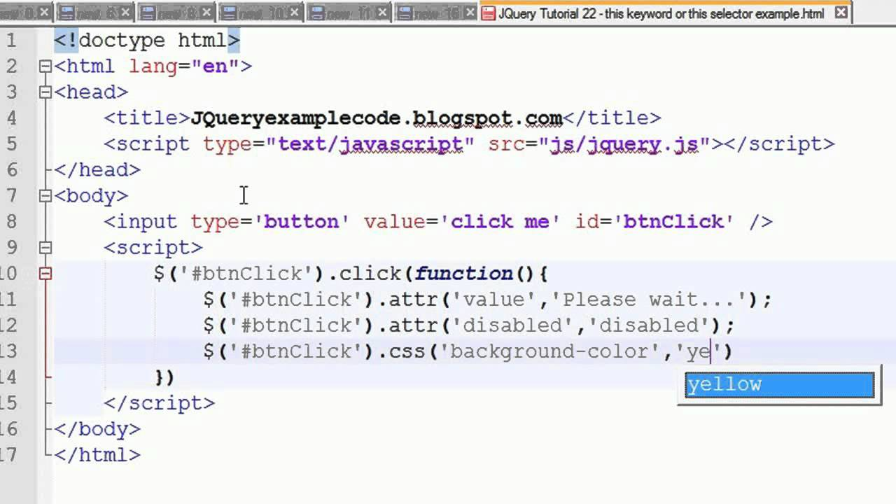 JQuery Tutorial 22  this keyword or this selector example