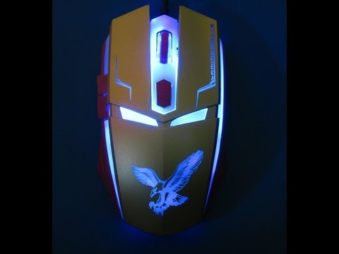 Iron Man 6D Gamer mouse,LED gamer mouse unboxing