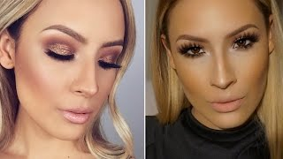 sparkle bronze smokey eye glowy skin makeup i wore to the golden globes