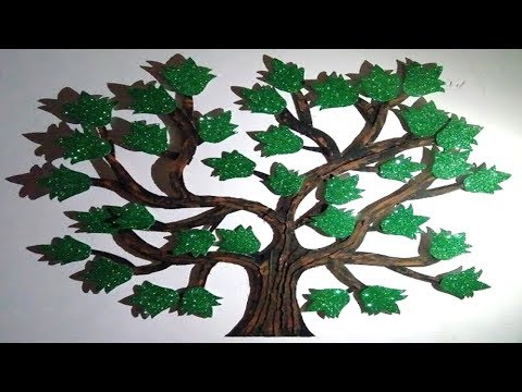 how to make paper tree | decorative wall hanging tree art | diy | craft | idea | YOUTUBE VIDEOS |IND