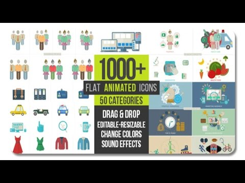 Flat Animated Icons 1000+ | After Effects template