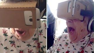 Бабуля жжот! Прикол с очками виртуальной реальности Google Cardboard, смешно, шутка