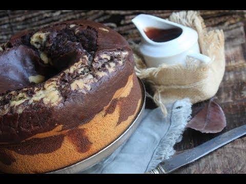 Cake gonflé et marbré chocolat café à l'eau gazeuse facile et rapide