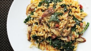 Recipe of Skillet Pasta with Mushrooms, Pancetta, and Wilted Greens