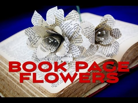 How To Make Paper Flowers From Book Pages Youtube