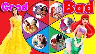 Good Guys VS Bad Guys Spin the Wheel Mini Games! W/ Belle, Owlette & Gargamel!