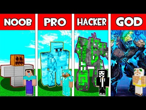 Minecraft NOOB vs PRO vs HACKER vs GOD : IRON GOLEM EVOLUTION CHALLENGE in Minecraft Animation