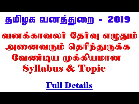 Forest Watcher 2019 exam pattern and SYLLABUS