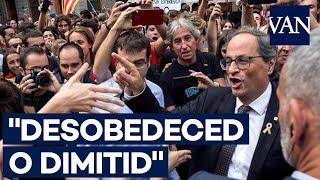 [Cataluña 1-O] Quim Torra abucheado a las puertas del Parlament