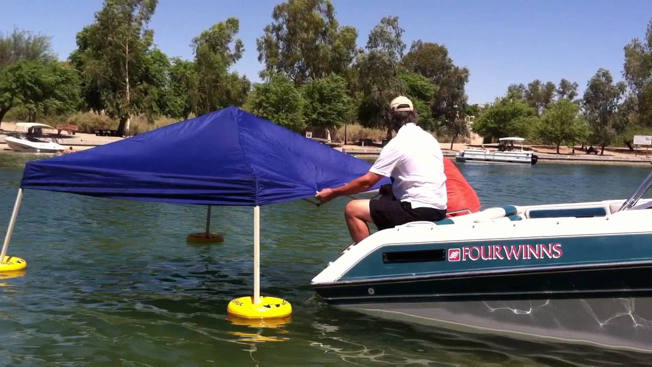 Floating a canopy with the Water Shade Canopy Float Kit & Floating a canopy with the Water Shade Canopy Float Kit - YouTube