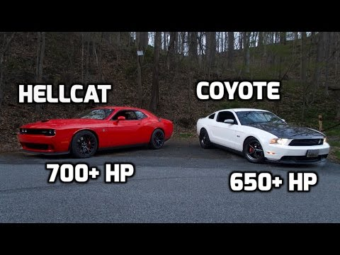 hp dodge hellcat challenger   hp procharged mustang gt youtube