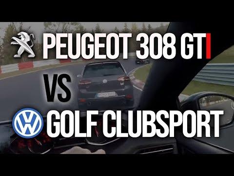 Peugeot 308 GTi 270 vs VW Golf R & GTi Clubsport at the Nürburgring