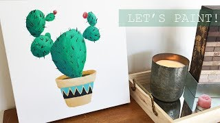 Easy DIY Cactus Painting | Paint with me