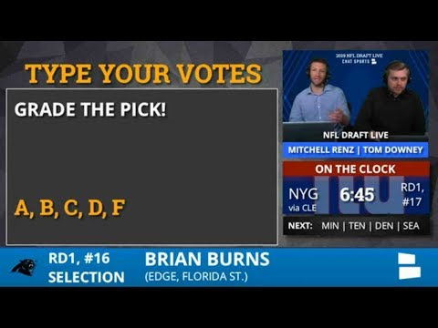 Carolina Panthers Select Brian Burns From Florida State With Pick #16 In 1st Round of 2019 NFL Draft