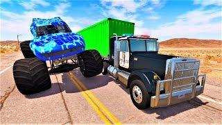 Синий монстр трак и полицейские машины - Мультик игра про машинки 2019